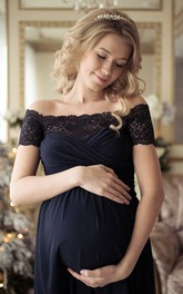 A-line Off-the-shoulder Lace Ruched Short Sleeve Floor-length Chiffon Maternity Dress