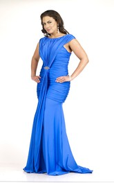 Scoop-neck Cap-sleeve Ruched plus size Dress With Zipper And Sweep Train