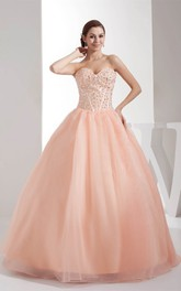Sweetheart Gemmed-Bodice Strapless Pleated A-Line Ball Gown