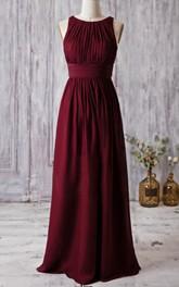 A-Line Bandage Sleeveless Bateau-Neck Floor-Length Dress