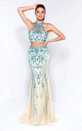 Column Pleats Jeweled High-Neck Sleeveless Backless Lace Dress