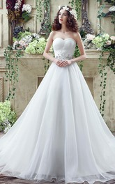 Jewels Long Train Lace-Up White Chic Dress