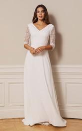 Casual V-neck A Line Chiffon Lace Floor-length Deep-V Back Wedding Dress