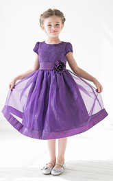 Lace Satin Ribbon Floral 3-4-Length Flower Girl Dress