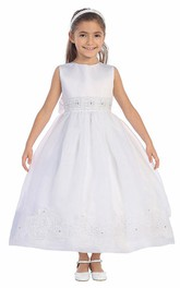 Lace Satin Sash Floral Ankle-Length Flower Girl Dress