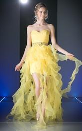 Knee-Length Waist Jeweler Criss Cross Sweetheart Strapless Lace-Up Organza Dress