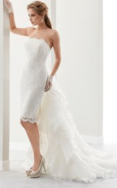 Strapless Pencil short Lace Wedding Dress With Ruffled Court Train