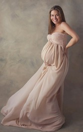 A-line Sweetheart Pleated Ruched Sleeveless Brush Train Chiffon Lace Maternity Dress