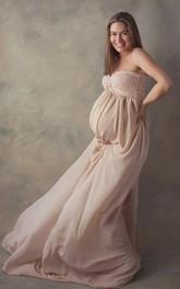 A-line Sweetheart Pleated Ruched Sleeveless Brush Train Chiffon Lace Maternity Dress
