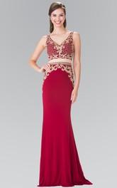 2-Piece Jeweled Appliqued Column V-Neck Jersey Sleeveless Dress
