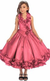 Layered Ruffled Tea-Length Lace Flower Girl Dress