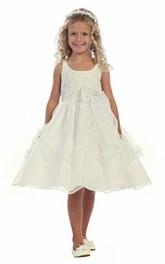 Ribbon Beaded Slit-Front Flower Girl Dress