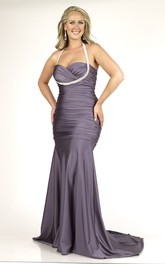 Haltered Mermaid Ruched Dress With Beading And Zipper