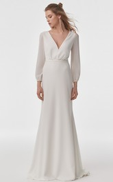 Simple Modern Long Sleeve Sheath Chiffon V-neck Wedding Dress with Cowel Back