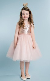 Tulle Midi Spaghetti Sequined Flower Girl Dress