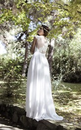 Lace Cap Sleeves Gorgeous Bohemian-Inspire Wedding Gown