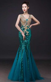 Mermaid Floor-length V-neck Sleeveless Tulle Dress with Appliques