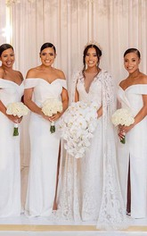 Off-the-shoulder V-neck Satin Sleeveless Brush Train Sheath Bridesmaid Dress with Split Front