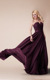 notched Strapless Chiffon long Bridesmaid Dress With Ruching And Zipper