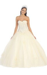 Long Sequined Appliqued Sweetheart Strapless Lace-Up Sleeveless Ball Gown