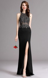High-Neckline Slit-Front Floor-Length Column Illusion Jersey Gown