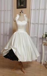 Wedding Bow Lace-Up Back Tea-Length Halter Dress