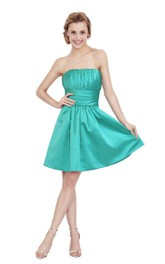 A-Line Pleated Strapless Impressive Satin Dress