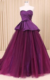 A-Line Satin Sweetheart Sweep-Train Tulle Corset Lace Dress