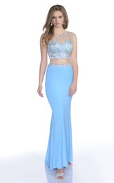 Crop-Top Beaded-Bodice Sequined Trumpet Sleeveless Jersey Gown