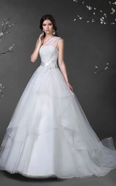 One-Shoulder Draping Tulle Layers Ball-Gown Princess Satin Lace-Up Dress