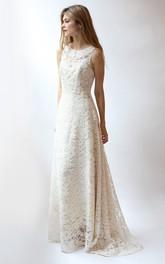 Lace Scoop-neck Sleeveless Wedding Dress With Deep-V Back