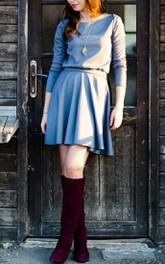 simple style Long Sleeve short Dress