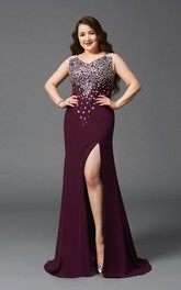 Sheath Floor-length V-neck Sleeveless Jersey Split Front Beading Illusion Dress