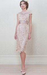 High Neck Cap-sleeve Pencil Lace Dress With Ruched waist And Keyhole