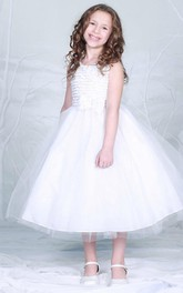 Tiered Bowknot 3-4-Length Tulle Flower Girl Dress