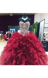 Ball Gown Sleeveless Floor-length Sweetheart Organza Prom Dress with Zipper Back