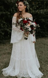 Off-the-shoulder Lace Long Sleeve Sweep Train Button A Line Wedding Dress