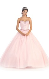 Long Jeweled Sweetheart Strapless Tulle Sleeveless Ball Gown
