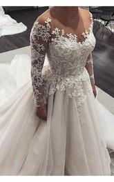 Jewel-Neck Tulle Long Sleeve Floor-Length Vintage Corset Back Garden Wedding Dress
