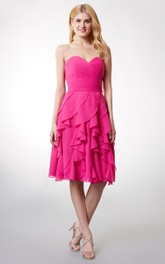 Short Ruffled Skirt Sweetheart Lovely Dress