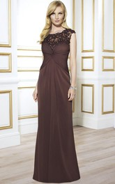 Floor-Length Illusion Back Formal Draping Cap-Sleeve Sheath Chiffon Dress