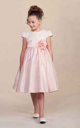 Layered Floral 3-4-Length Satin Flower Girl Dress