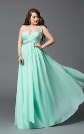 A-line Floor-length One-shoulder Sleeveless Chiffon Criss cross Beading Zipper Dress
