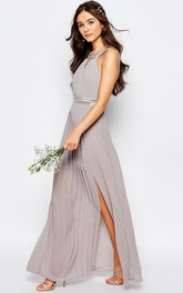 A-Line Floor-Length Beaded Sleeveless Scoop-Neck Chiffon Bridesmaid Dress With Pleats