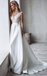 V-neck Satin Lace Sleeveless Court Train Open Back Low-V Back Wedding Dress