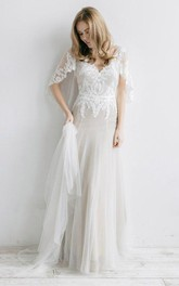 Tulle Pleated Appliques V-Neckline Ethereal Dress
