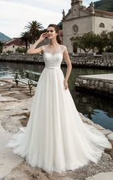 Cap-Sleeve Pleated Floor-Length A-Line Tulle Gown