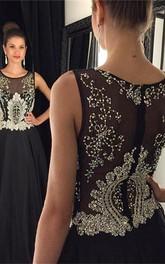 Newest Black Beadings A-line Evening Dress Illusion Zipper Sleeveless