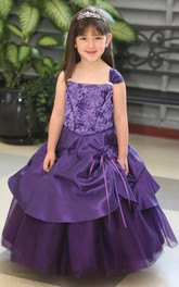 Tulle Satin Sash Jeweled Ankle-Length Flower Girl Dress
