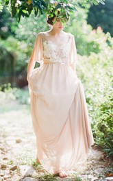 V-neck Poet-sleeve Chiffon Floor-length Backless Dress With Appliques